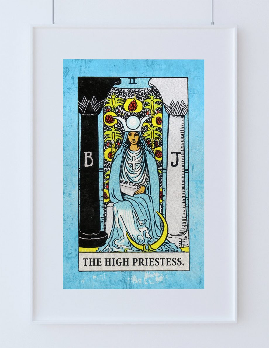 Tarot Print High Priestess Retro Illustration Art Rider Print Vintage Giclee on Cotton Canvas or Paper Canvas Poster Wall Decor