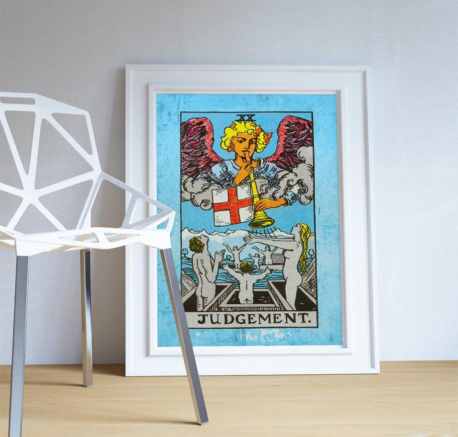 Tarot Print Judgement Retro Illustration Art Rider Print Vintage Giclee on Cotton Canvas and Satin Photo Paper