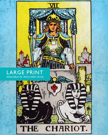 Tarot Print The Chariot Retro Illustration Art Rider Print Vintage Giclee on Cotton Canvas and Satin Photo Paper