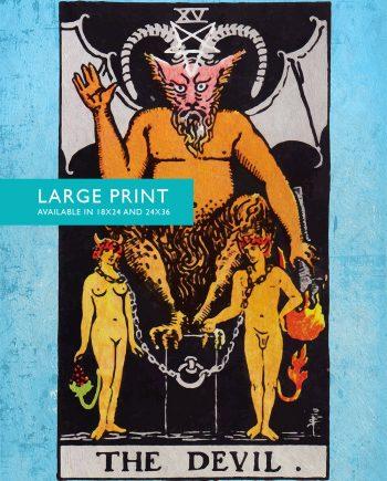 Tarot Print The Devil Retro Illustration Art Rider Print Vintage Giclee on Cotton Canvas and Satin Photo Paper