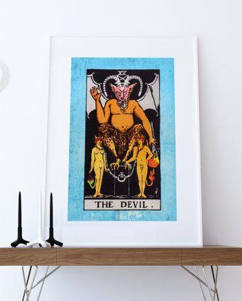 Tarot Print The Devil Retro Illustration Art Rider Print Vintage Giclee on Cotton Canvas or Paper Canvas Poster Wall Decor