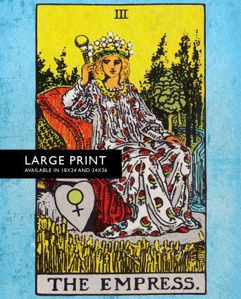 Tarot Print The Empress Retro Illustration Art Rider Print Vintage Giclee on Cotton Canvas and Satin Photo Paper