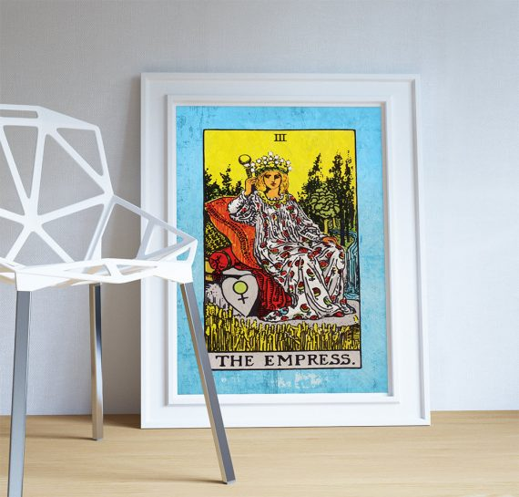 Tarot Print The Empress Retro Illustration Art Rider Print Vintage Giclee on Cotton Canvas or Paper Canvas Poster Wall Decor