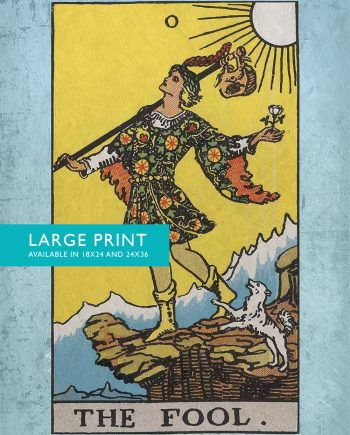 Tarot Print The Fool Retro Illustration Art Rider Print Vintage Giclee on Cotton Canvas and Satin Photo Paper