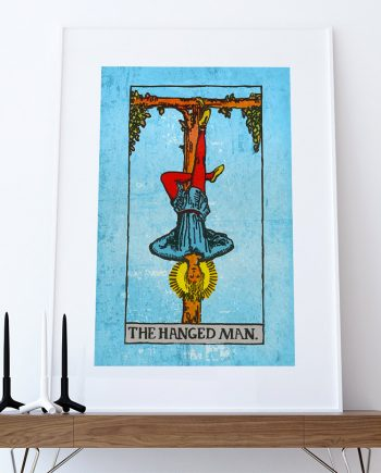 Tarot Print The Hanged Man Retro Illustration Art Rider Print Vintage Giclee on Cotton Canvas or Paper Canvas Poster Wall Decor