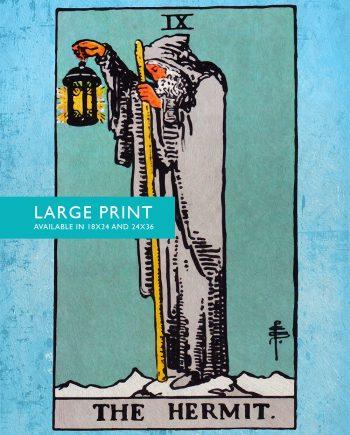 Tarot Print The Hermit Retro Illustration Art Rider Print Vintage Giclee on Cotton Canvas and Satin Photo Paper