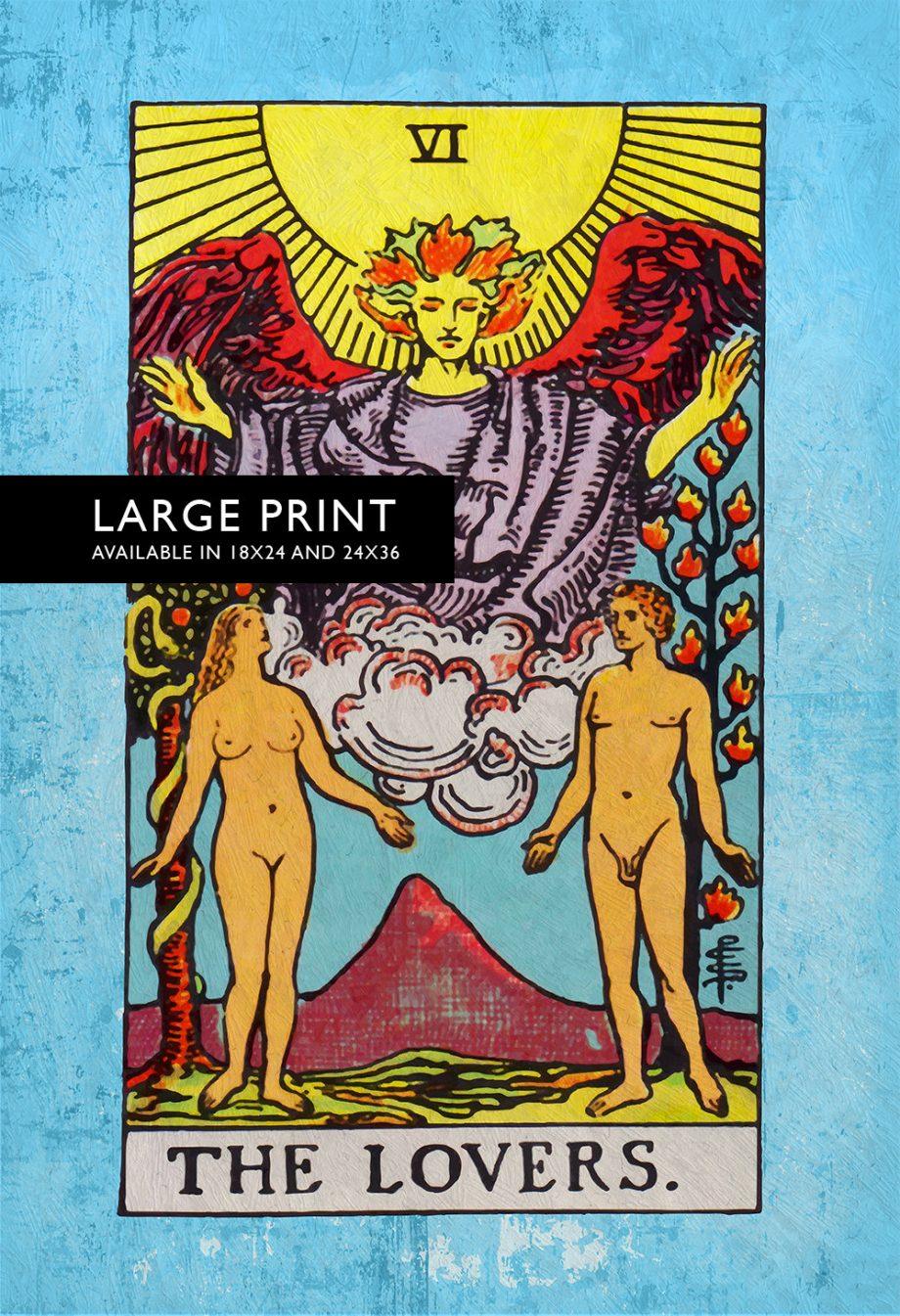 Tarot Print The Lovers Retro Illustration Art Rider Print Vintage Giclee on Cotton Canvas and Satin Photo Paper