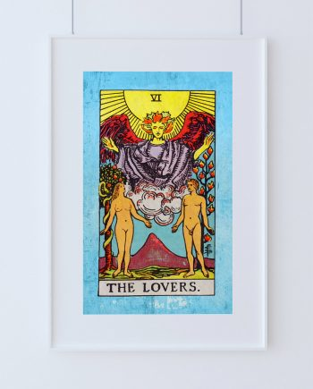 Tarot Print The Lovers Retro Illustration Art Rider Print Vintage Giclee on Cotton Canvas or Paper Canvas Poster Wall Decor