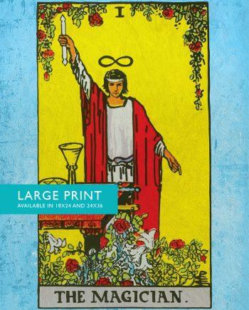 Tarot Print The Magician Retro Illustration Art Rider Print Vintage Giclee on Cotton Canvas and Satin Photo Paper