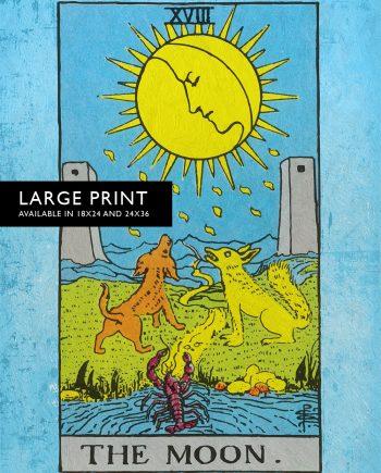Tarot Print The Moon Retro Illustration Art Rider Print Vintage Giclee on Cotton Canvas and Satin Photo Paper