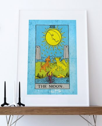 Tarot Print The Moon Retro Illustration Art Rider Print Vintage Giclee on Cotton Canvas or Paper Canvas Poster Wall Decor