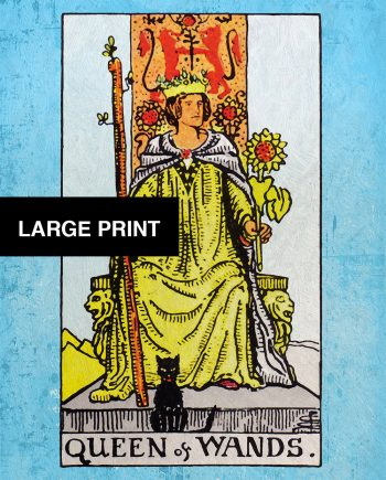 Tarot Print The Queen of Wands Retro Illustration Art Rider Print Vintage Giclee on Cotton Canvas and Satin Photo Paper