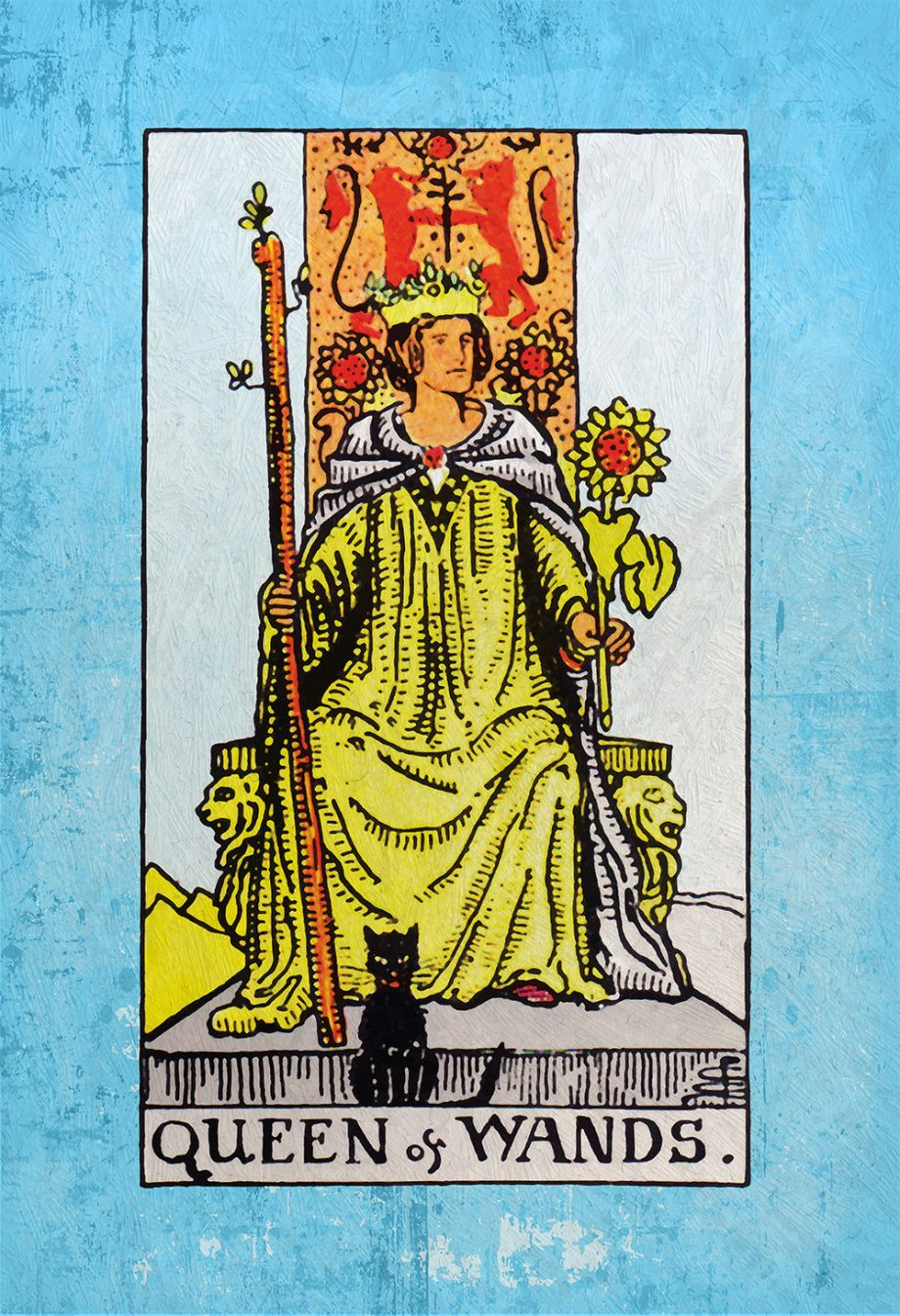 Tarot Print The Queen of Wands Retro Illustration Art Rider Print Vintage Giclee on Cotton Canvas or Paper Canvas Poster Wall Decor