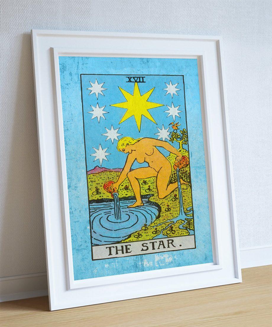 Tarot Print The Star Retro Illustration Art Rider Print Vintage Giclee on Cotton Canvas and Satin Photo Paper