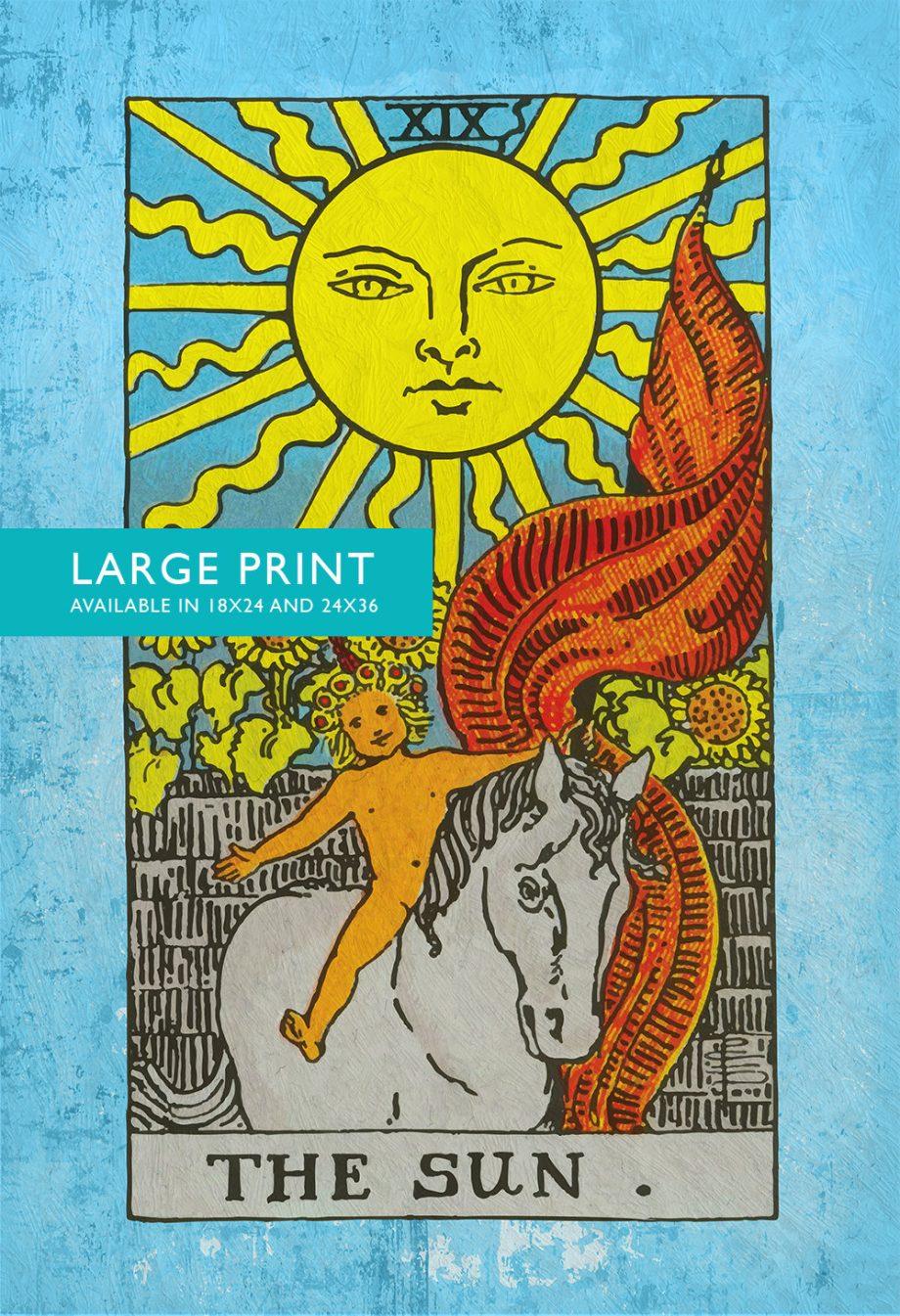 Tarot Print The Sun Retro Illustration Art Rider Print Vintage Giclee on Cotton Canvas and Satin Photo Paper