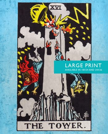 Tarot Print The Tower Retro Illustration Art Rider Print Vintage Giclee on Cotton Canvas and Satin Photo Paper