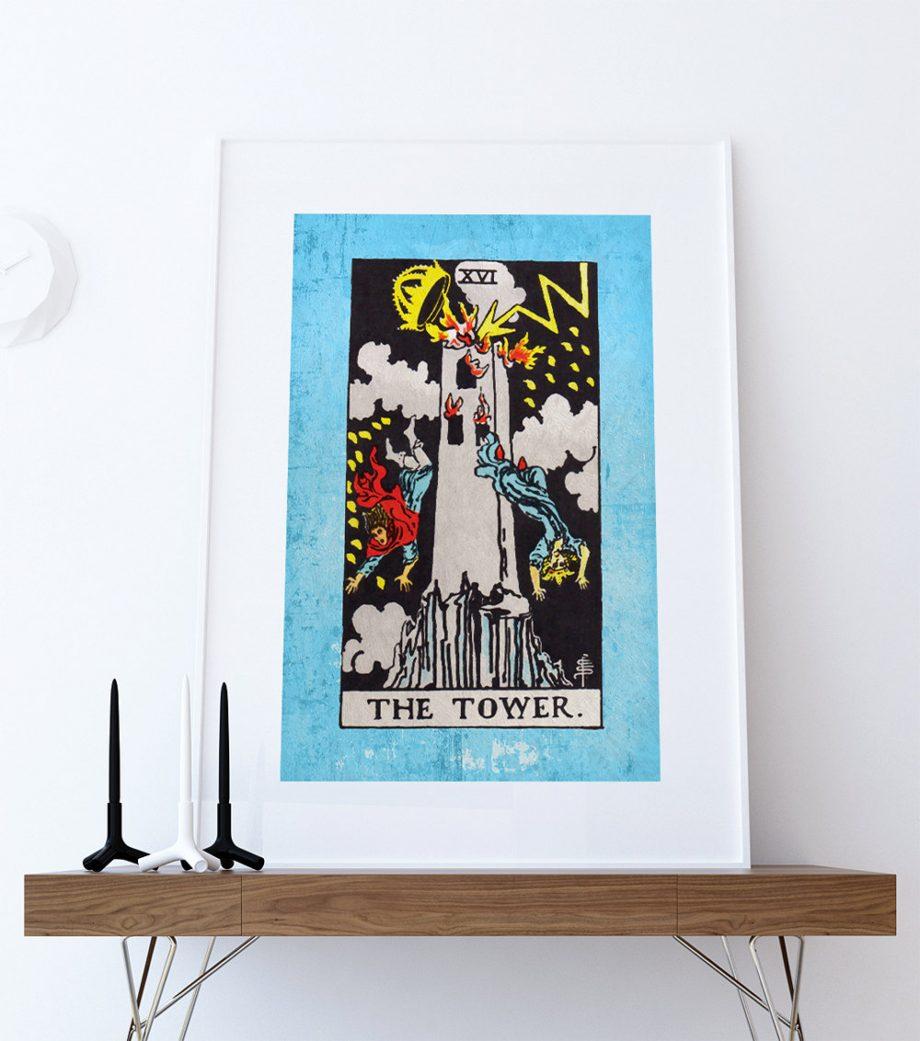 Tarot Print The Tower Retro Illustration Art Rider Print Vintage Giclee on Cotton Canvas and Satin Photo Paper
