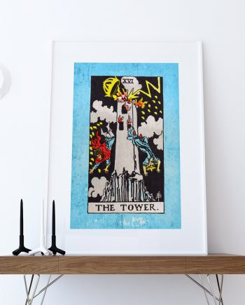 Tarot Print The Tower Retro Illustration Art Rider Print Vintage Giclee on Cotton Canvas or Paper Canvas Poster Wall Decor