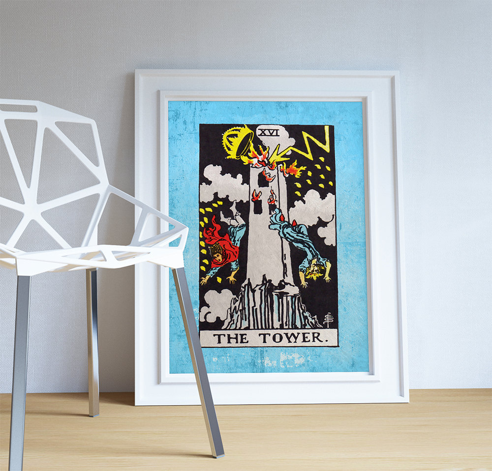 Tarot print the tower retro illustration art rider print for Retro wall art