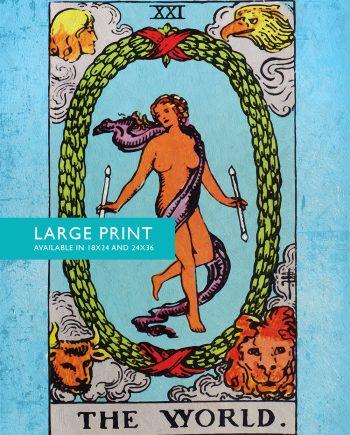 Tarot Print The World Retro Illustration Art Rider Print Vintage Giclee on Cotton Canvas and Satin Photo Paper
