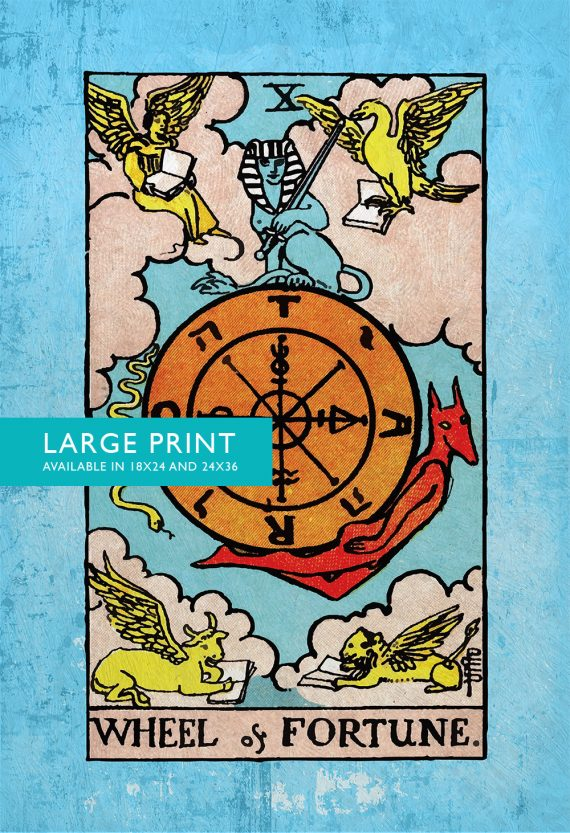 Tarot Print Wheel of Fortune Retro Illustration Art Rider Print Vintage Giclee on Cotton Canvas and Satin Photo Paper