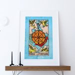 Tarot Print Wheel of Fortune Retro Illustration Art Rider Print Vintage Giclee on Cotton Canvas and Satin Photo Paper