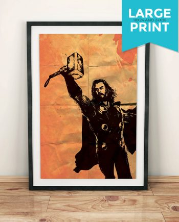 Thor Avengers Poster Illustration Marvel Comics Viking Hammer Action Superhero Giclee Large Poster Print on Satin or Cotton Canvas
