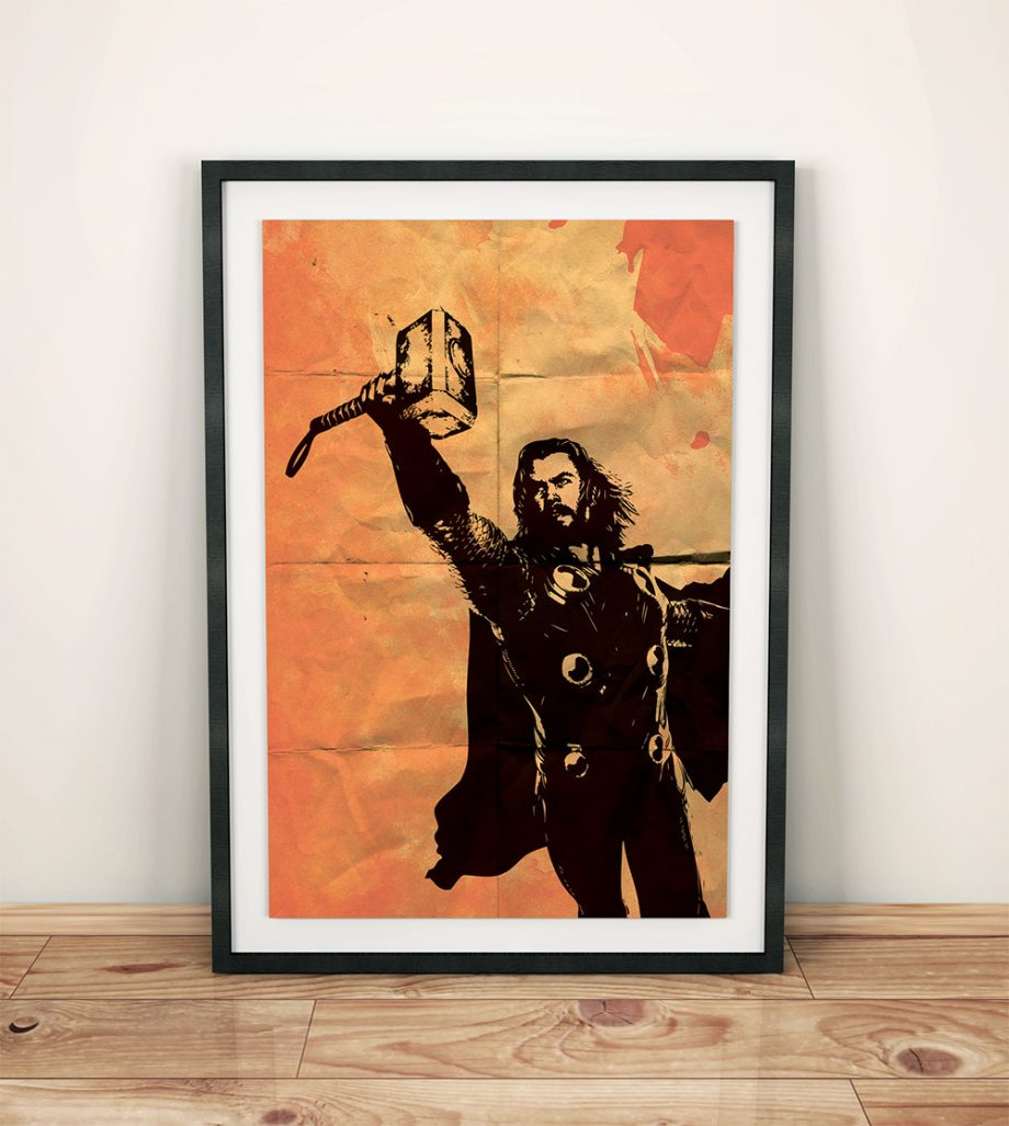 Thor Avengers Poster Illustration Marvel Comics Viking Hammer Action Superhero Giclee Print on Cotton Canvas and Paper Canvas