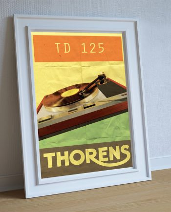 Thorens TD 125 Audiophile Turntable Original Illustration Vintage Ad Style Giclee Print on Cotton Canvas and Paper Canvas Poster Wall Decor