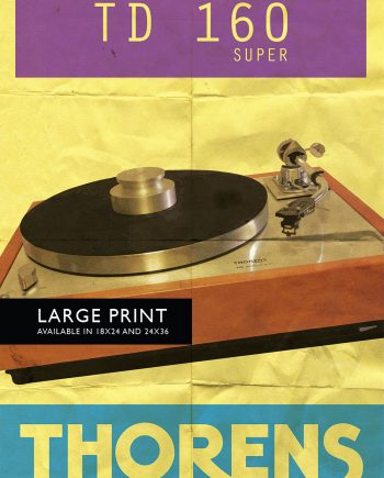 Thorens TD 160 Super Audiophile Turntable Original Illustration Vintage Ad Style Giclee Print Poster Wall Art Large Giclee Cotton Canvas