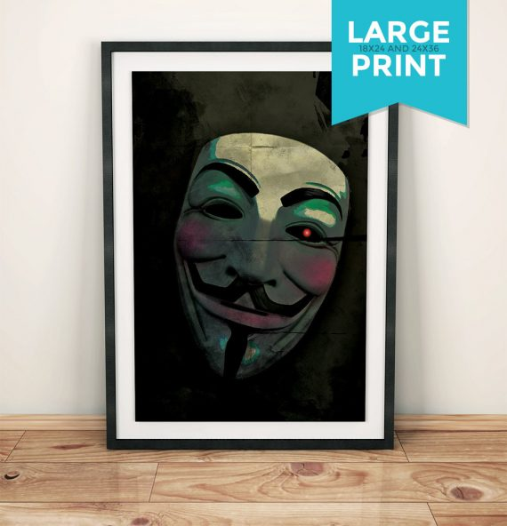 V for Vendetta Movie Large Poster Guy Fawkes Mask Anonymous Print Giclee on Satin or Cotton Canvas Dystopia