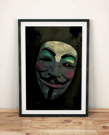 V for Vendetta Movie Poster Guy Fawkes Mask Anonymous Print Giclee on Cotton Canvas and Paper Canvas Dystopia