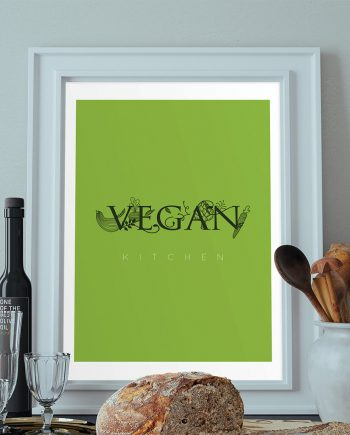 Vegan Kitchen Print Original  Giclee Print on Cotton Canvas and Paper Canvas Poster Home Kitchen Decor