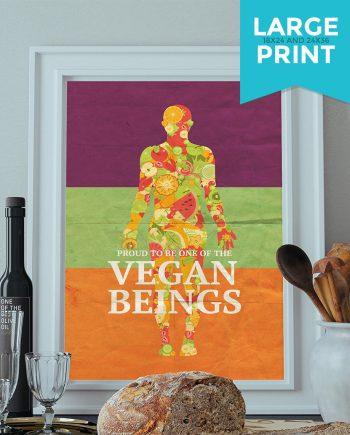 Vegan Poster Kitchen Print Original  Giclee Large Poster on Satin or Cotton Canvas Home Kitchen Decor
