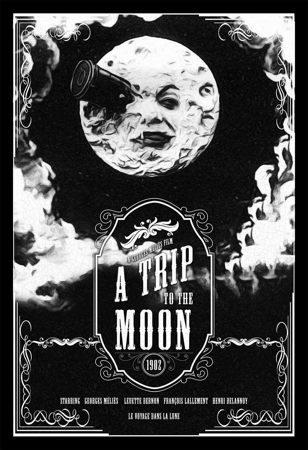 Vintage A Trip To The Moon Poster Illustration Georges