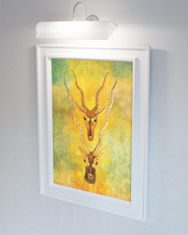 Vintage Antelope Print Antelope Antlers Print Wall Art – Giclee ...