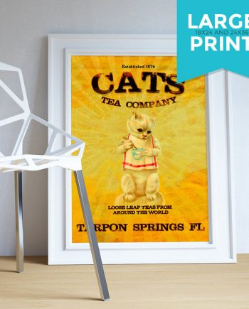 Vintage Cats Tea Company Illustration Vintage Style Ad Cat Giclee Print Large Poster on Satin or Cotton Canvas Cat Wall Art