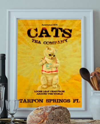 Vintage Cats Tea Company Illustration Vintage Style Ad Cat Giclee Print on Cotton Canvas and Paper Canvas Cat Wall Art