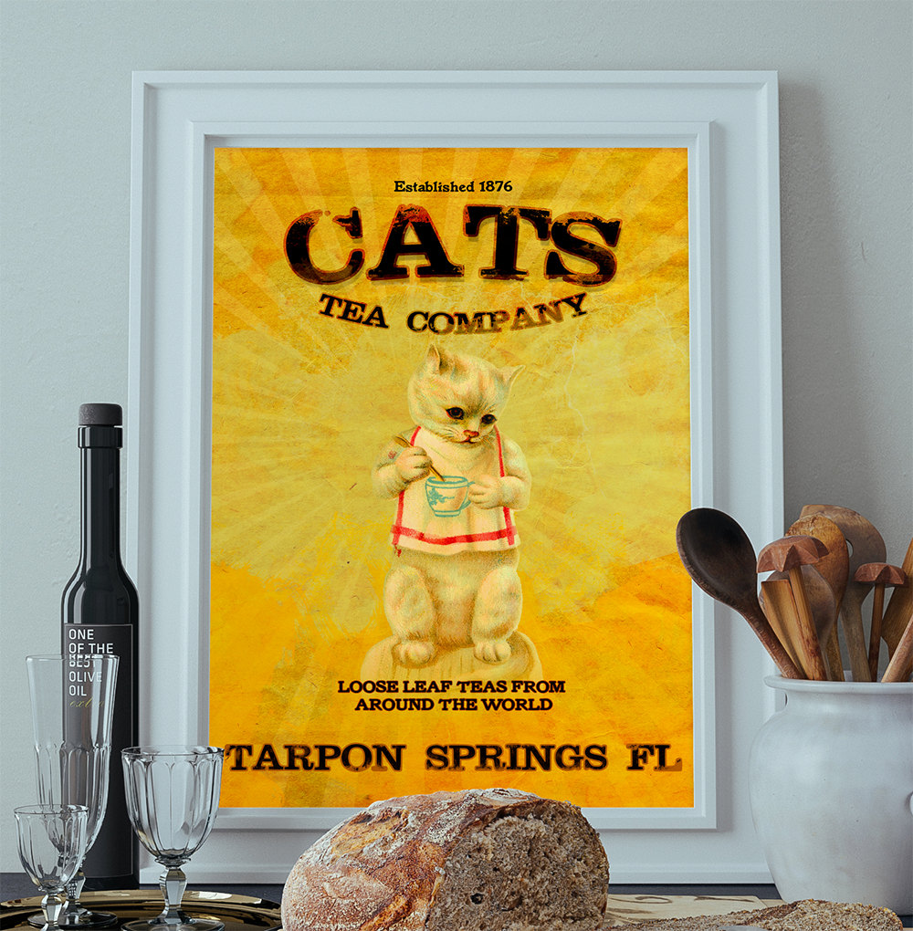 Vintage Cats Tea Company Illustration Vintage Style Ad Cat Giclee ...