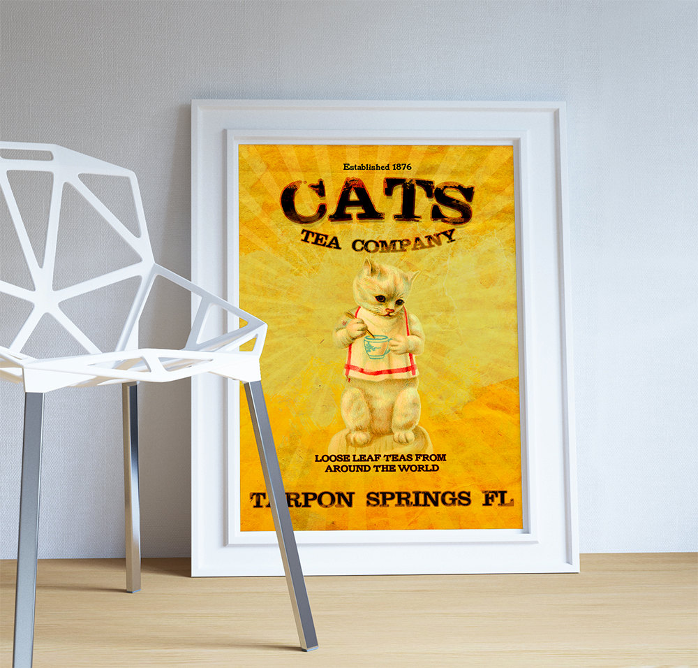 Vintage Cats Tea Company Illustration Vintage Style Ad Cat Giclee ...