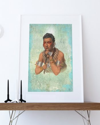 Vintage Chief of the Ioways Native American Man Art Print Vintage Giclee on Cotton Canvas or Paper Canvas Poster Wall Decor