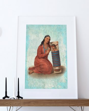 Vintage Chippeway Squaw & Child Native American Art Print Vintage Giclee on Cotton Canvas or Paper Canvas Poster Wall Decor