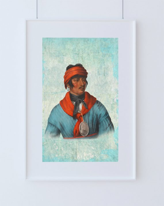 Vintage Creek Chief Native American Man Art Print Vintage Giclee on Cotton Canvas and Satin Photo Paper
