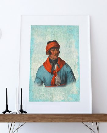 Vintage Creek Chief Native American Man Art Print Vintage Giclee on Cotton Canvas or Paper Canvas Poster Wall Decor