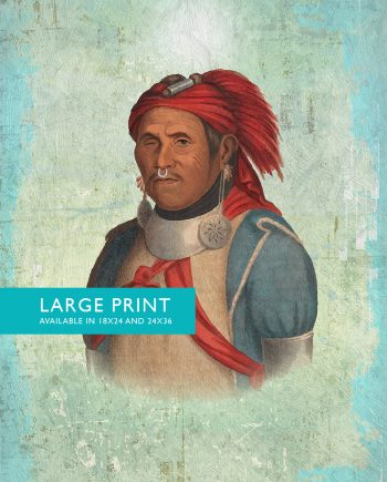 Vintage Native American Man The Prophet Illustration Art Print Vintage Giclee on Cotton Canvas and Satin Photo Paper