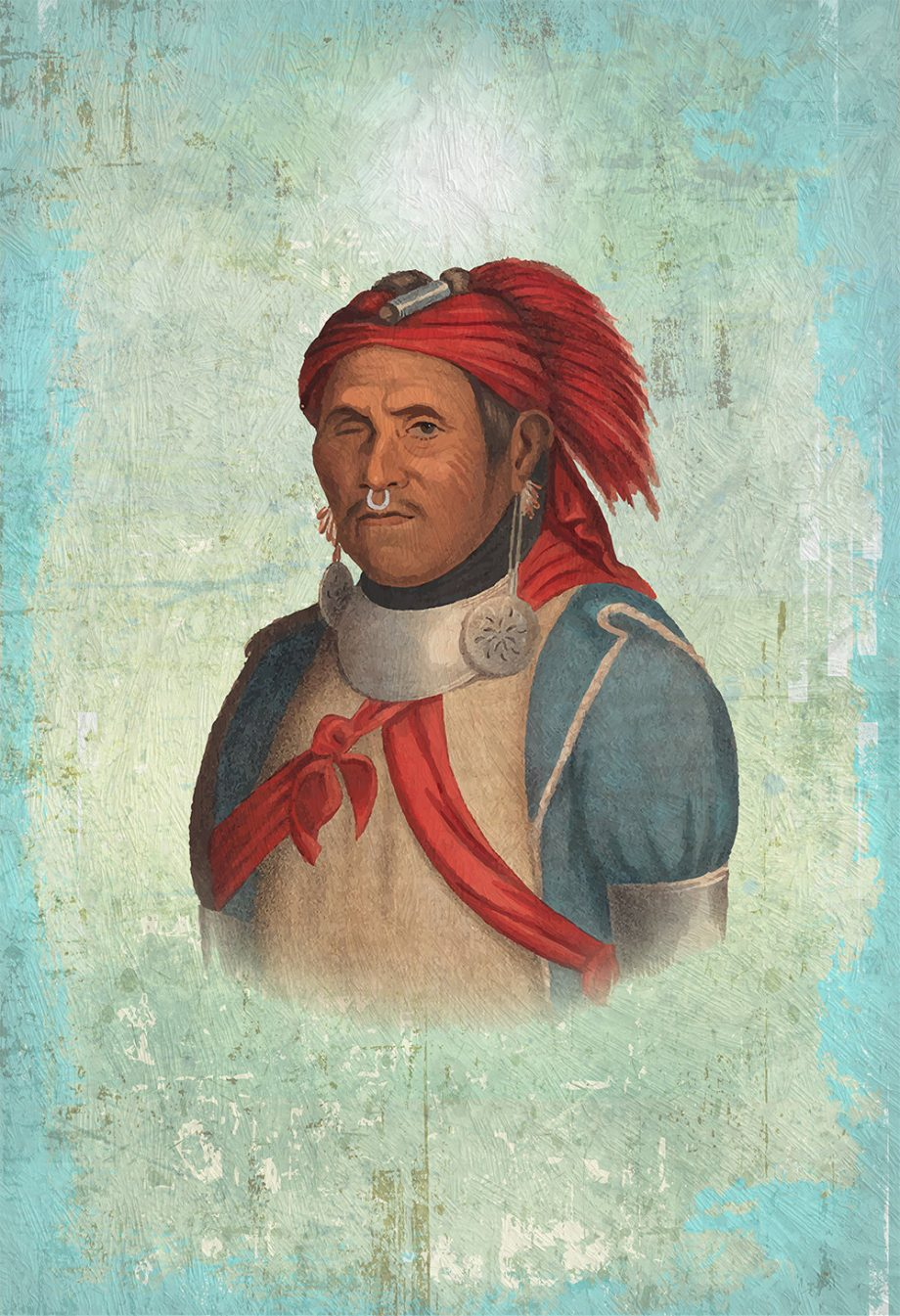 Vintage Native American Man The Prophet Illustration Art Print Vintage Giclee on Cotton Canvas or Paper Canvas Poster Wall Decor
