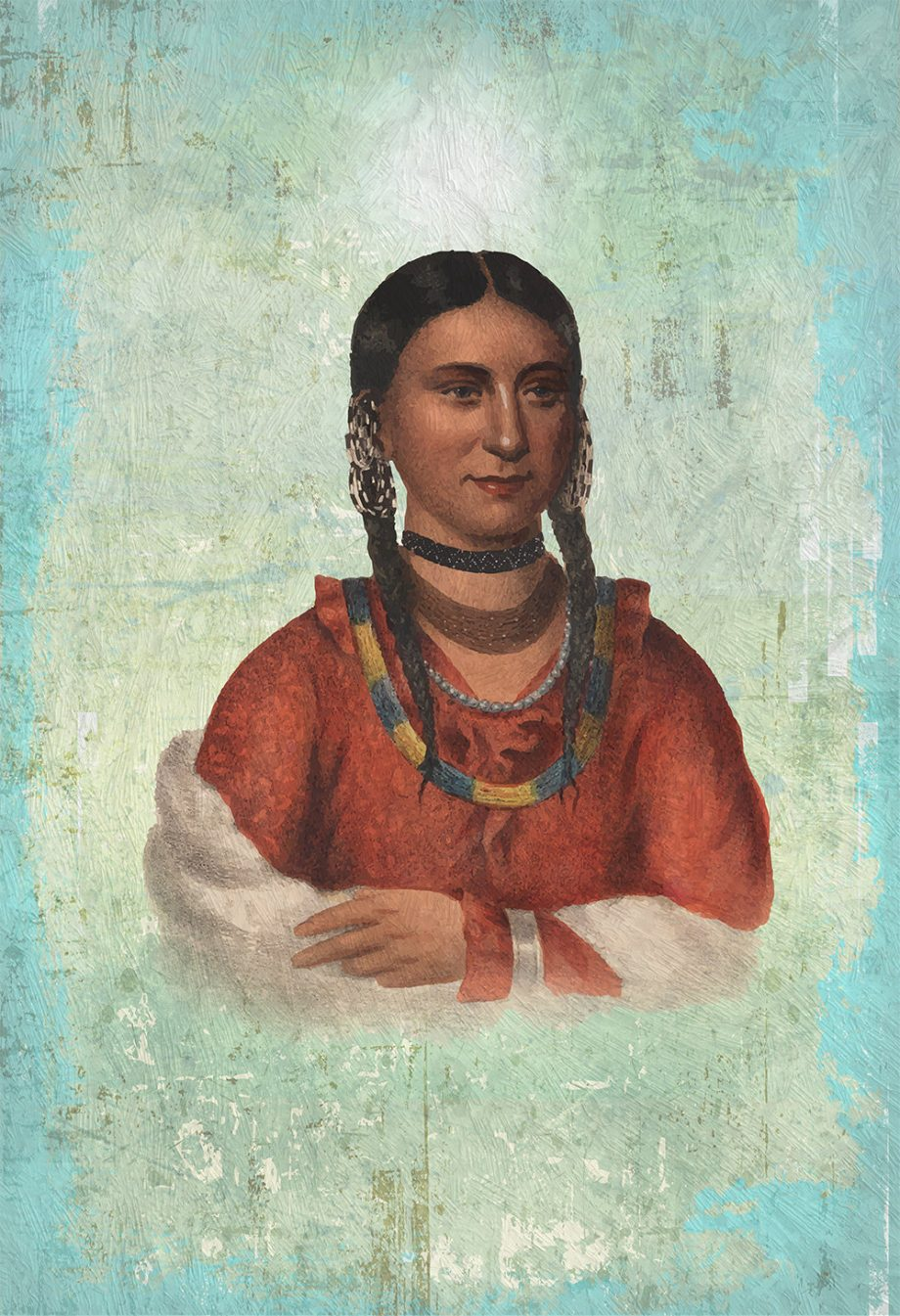 Vintage Native American Woman Illustration Art Print Vintage Giclee on Cotton Canvas and Satin Photo Paper