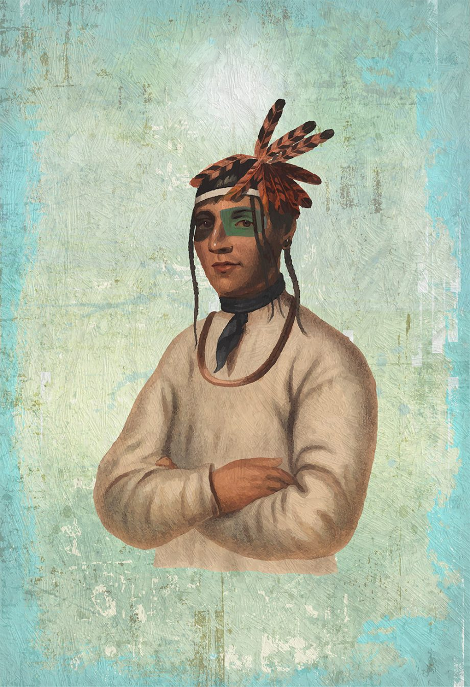 Vintage Ojibway Native American Man Art Print Vintage Giclee on Cotton Canvas and Satin Photo Paper