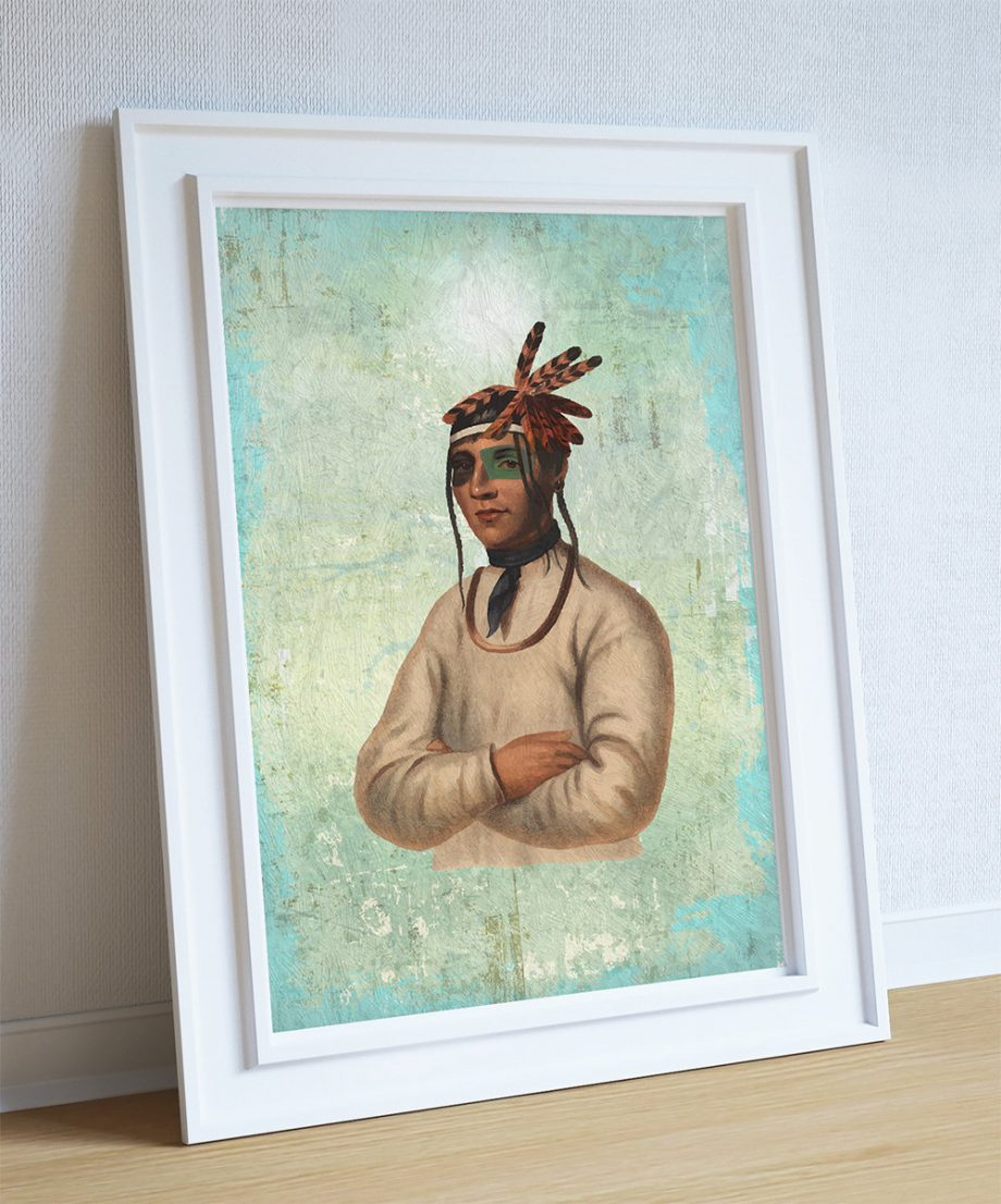 Vintage Ojibway Native American Man Art Print Vintage Giclee on Cotton Canvas or Paper Canvas Poster Wall Decor