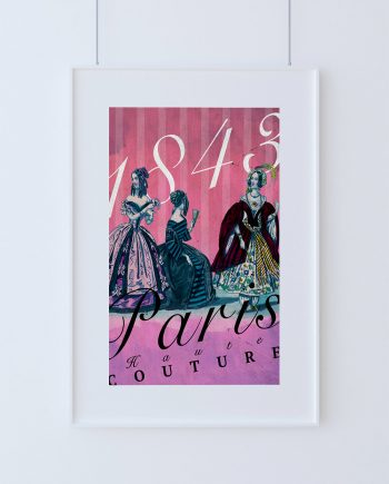 Vintage Paris Fashion Print Illustrated French Antique Fashion Giclee Cotton Canvas or Paper Canvas Wall Decor Art